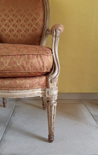 Louis XVI - Pair of Louis XVI armchairs ''medallion'' stamped BERNARD