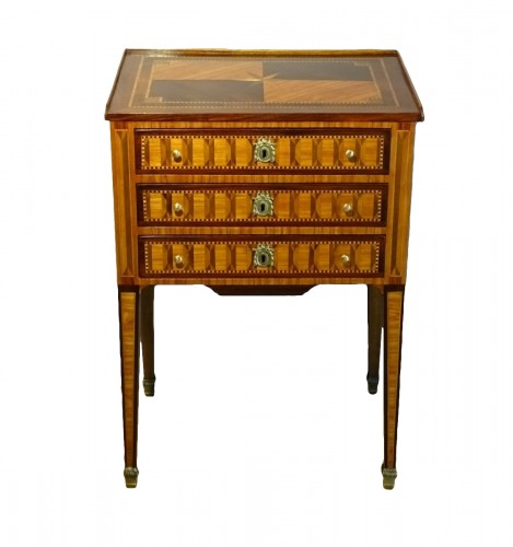 Louis XVI chiffonier table in marquetry