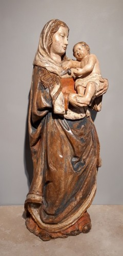 Madonna and Child in carved wood and polychrome circa 1510/1530 - Sculpture Style Renaissance