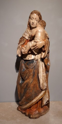 Sculpture  - Madonna and Child in carved wood and polychrome circa 1510/1530