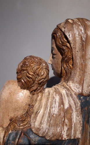 Antiquités - Madonna and Child in carved wood and polychrome circa 1510/1530