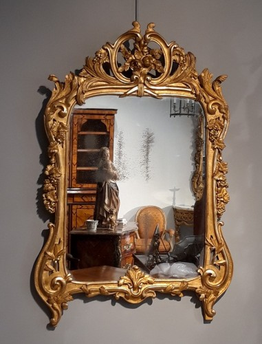 Louis XV mirror in gilded wood, 18th century