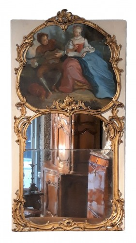 Large Louis XV mirror in gilded wood, 18th  century