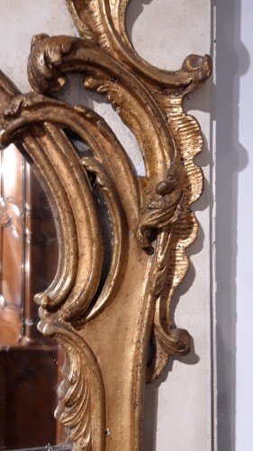 18th century - Large Louis XV mirror in gilded wood, 18th  century