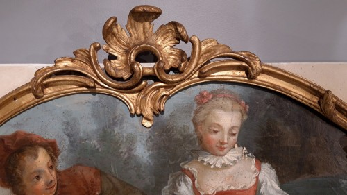 Antiquités - Large Louis XV mirror in gilded wood, 18th  century