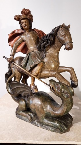Saint George slaying the dragon in polychrome wood - 17th century - Sculpture Style Louis XIII