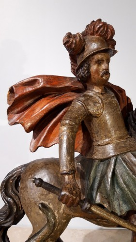 Saint George slaying the dragon in polychrome wood - 17th century -