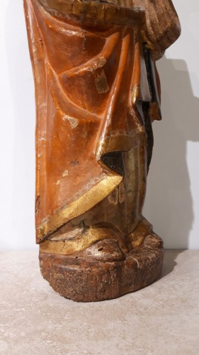 <= 16th century - Polychrome Wooden Sculpture 16th Century