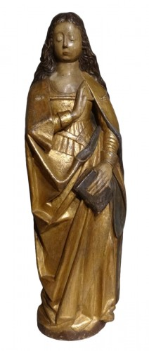"""""""Virgin of the Annunciation"""" in carved and polychrome wood around 1520"""