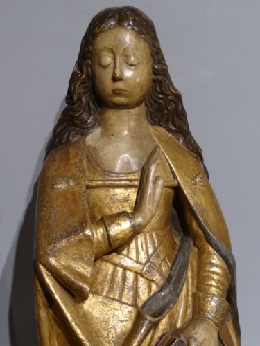 """""""Virgin of the Annunciation"""" in carved and polychrome wood around 1520 - Sculpture Style Renaissance"""
