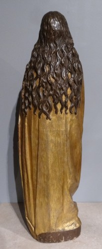 """Antiquités - """"Virgin of the Annunciation"""" in carved and polychrome wood around 1520"""