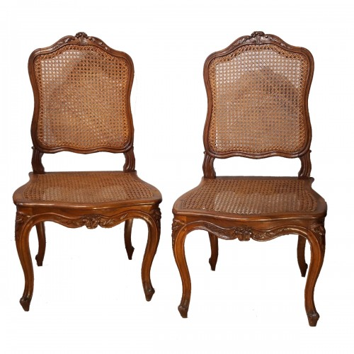 Pair Of Louis XV Chairs Stamped Pierre Nogaret, Received Master In 1745