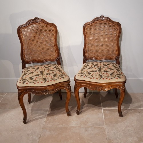 Pair Of Louis XV Chairs Stamped Pierre Nogaret, Received Master In 1745 -