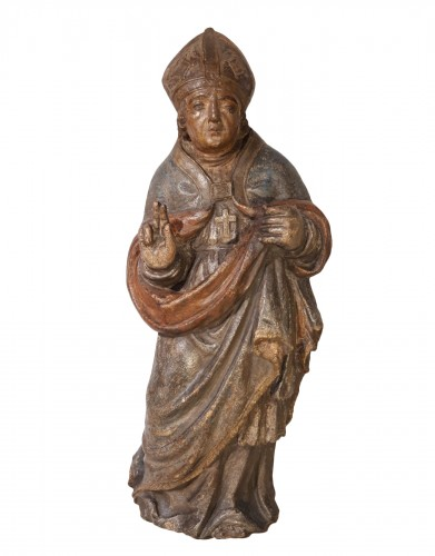 Bishop In Carved And Polychromed Stone, 17th Century