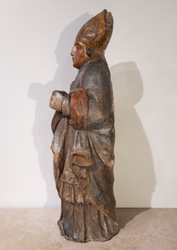 Bishop In Carved And Polychromed Stone, 17th Century - Sculpture Style Louis XIV
