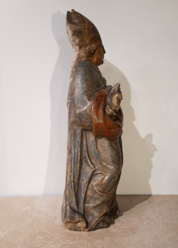 Sculpture  - Bishop In Carved And Polychromed Stone, 17th Century