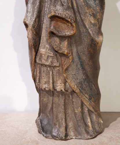 Bishop In Carved And Polychromed Stone, 17th Century -