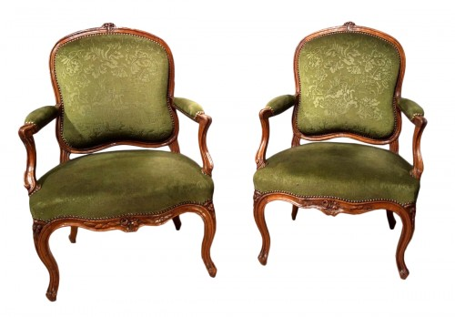 Pair Of Louis XV Armchairs Stamped Pierre Nogaret (1718-1771)