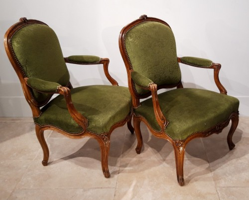 18th century - Pair Of Louis XV Armchairs Stamped Pierre Nogaret (1718-1771)