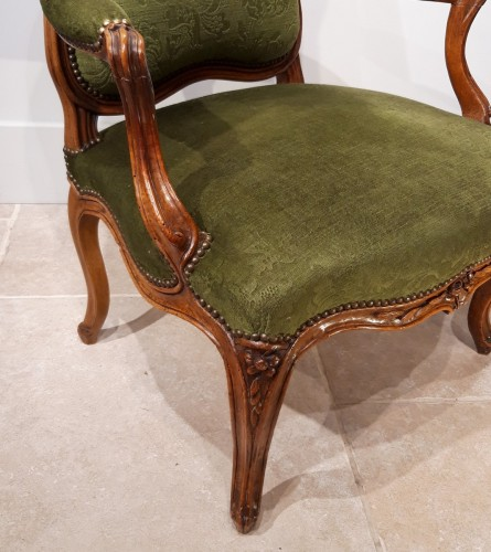 Pair Of Louis XV Armchairs Stamped Pierre Nogaret (1718-1771) - Louis XV