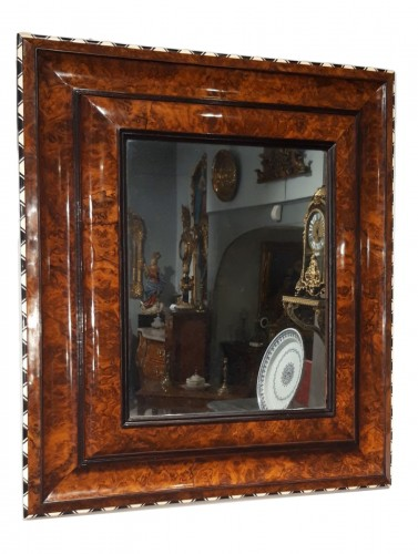 Louis XIII mirror in walnut, ivory and ebony
