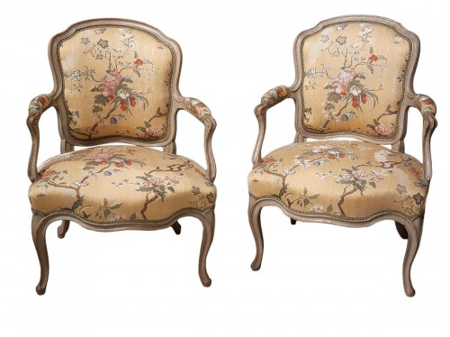 Pair Of Louis XV Cabriolets Stamped Lc Carpentier, XVIII °