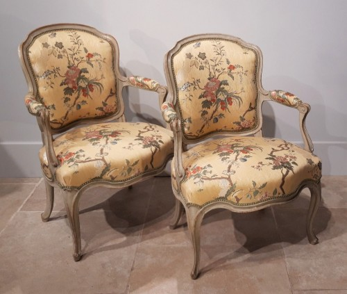 Pair Of Louis XV Cabriolets Stamped Lc Carpentier, XVIII ° - Seating Style Louis XV