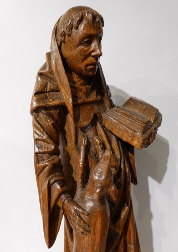 Saint Gilles In Carved Wood, 15th Century -