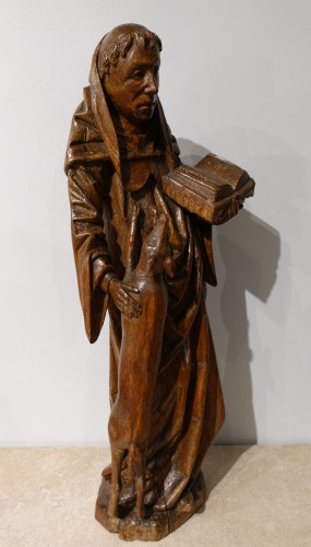 Middle age - Saint Gilles In Carved Wood, 15th Century