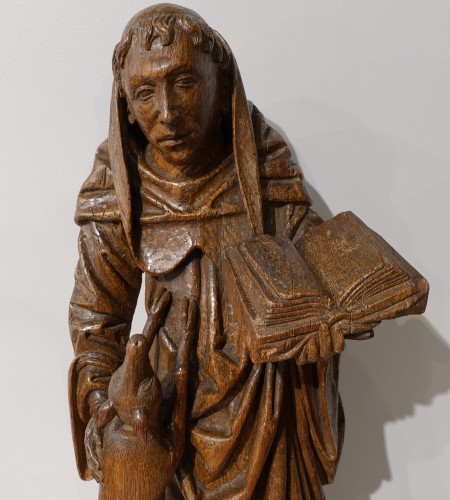 Antiquités - Saint Gilles In Carved Wood, 15th Century