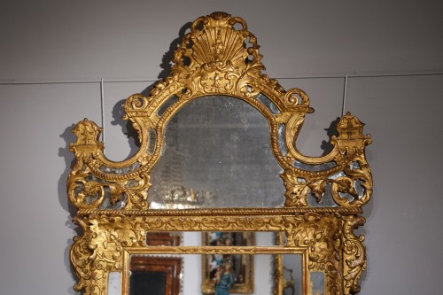 """French """"Regence"""" mirror in golden wood, early 18th century - Mirrors, Trumeau Style French Regence"""