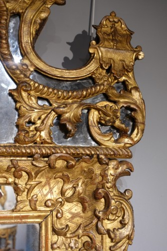 """Mirrors, Trumeau  - French """"Regence"""" mirror in golden wood, early 18th century"""