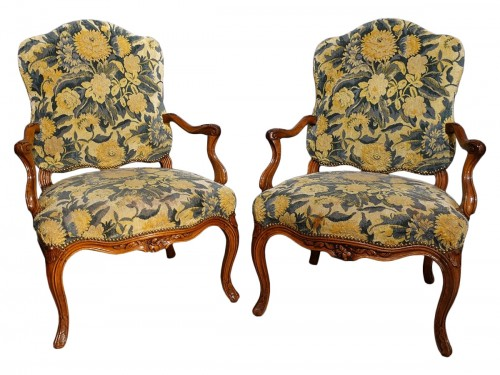 Pair Of Nogaret Stamped Armchairs, 18th Century