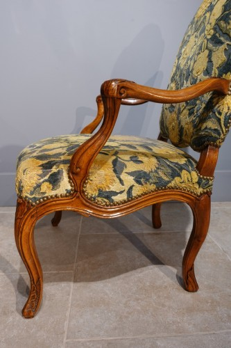 18th century - Pair Of Nogaret Stamped Armchairs, 18th Century