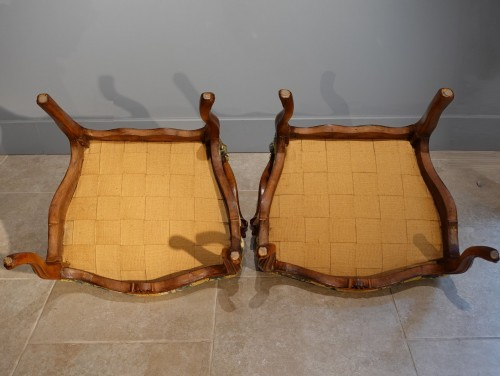 - Pair Of Nogaret Stamped Armchairs, 18th Century