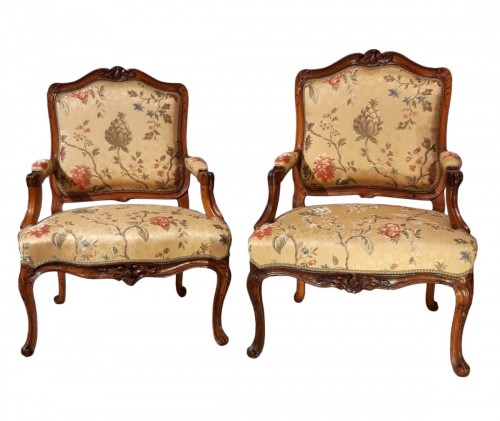 Pair Of Louis XV Armchairs In Walnut