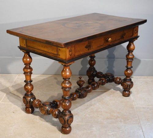 French Louis XIII Desk / Table , Walnut, 17th Century -
