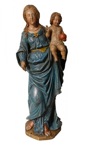 Madonna and Child, carved and poplychrome wood, 18th century