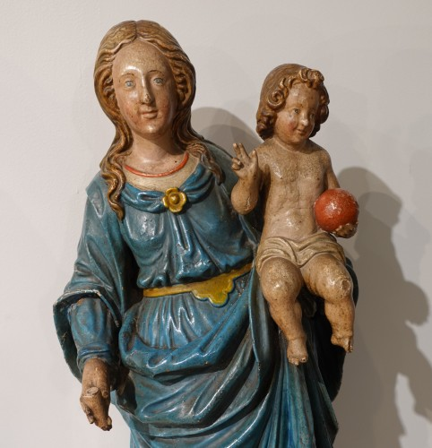 Sculpture  - Madonna and Child, carved and poplychrome wood, 18th century