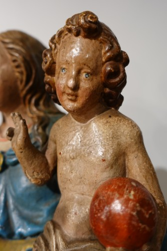 Madonna and Child, carved and poplychrome wood, 18th century -