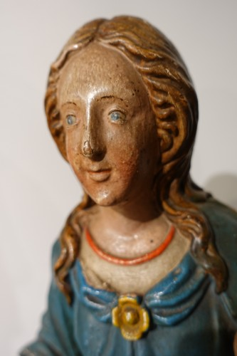 18th century - Madonna and Child, carved and poplychrome wood, 18th century