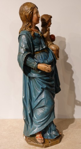 Madonna and Child, carved and poplychrome wood, 18th century - Louis XVI