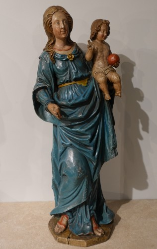 Louis XVI - Madonna and Child, carved and poplychrome wood, 18th century