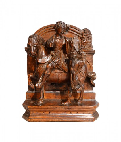 French Saint Martin in carved boxwood, 16th century