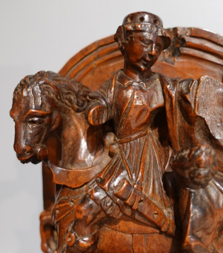 Sculpture  - French Saint Martin in carved boxwood, 16th century