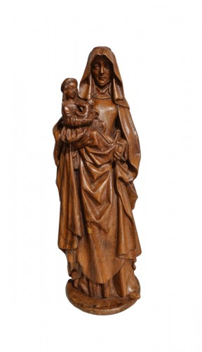 Saint Anne Trinitaire In Carved Walnut, Circa 1510
