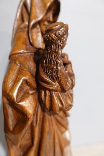Sculpture  - Saint Anne Trinitaire In Carved Walnut, Circa 1510