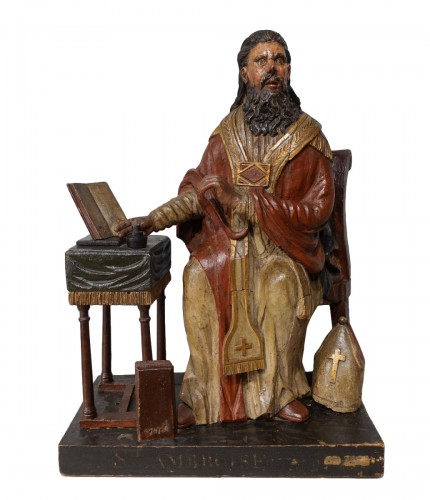 Saint Ambrose in polychrome carved wood from the late 18th century