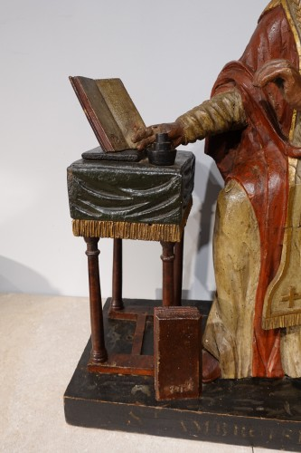 Saint Ambrose in polychrome carved wood from the late 18th century - Sculpture Style Directoire