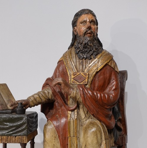 Sculpture  - Saint Ambrose in polychrome carved wood from the late 18th century
